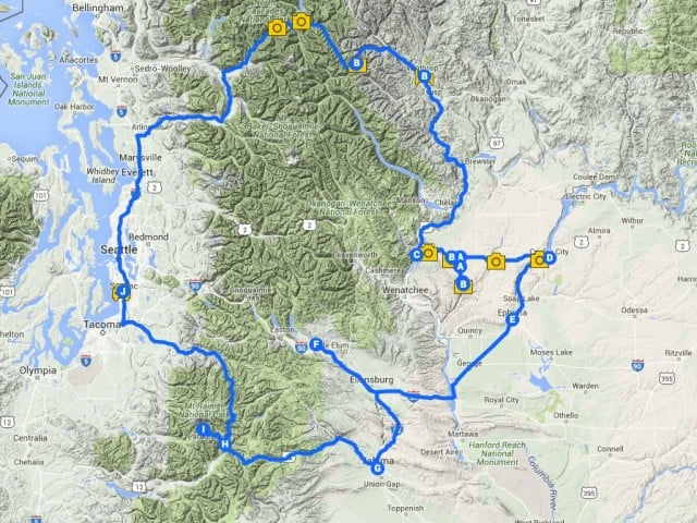Washington State Road Trip Map