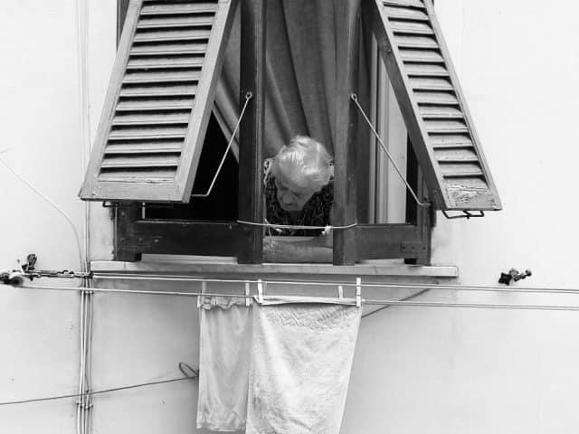 Checking the laundry in Riomaggiore