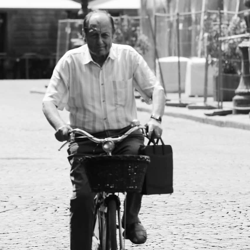 Portraits of Italy: commuting on a bicycle in Aosta