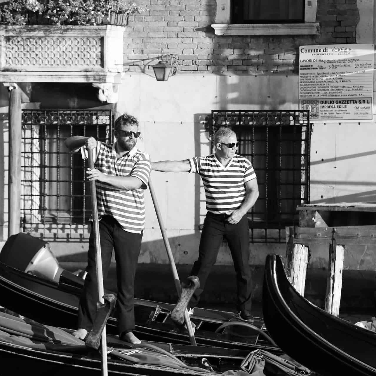 Portraits of Italy: gondoliers in the Grand Canal, Venice
